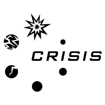 The Crisis logo: the word Crisis surrounded by six circles which grow and break apart.